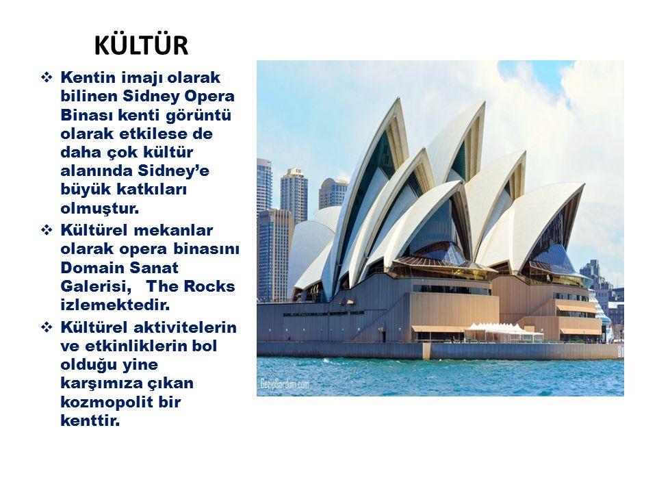 KÜLTÜR Kentin imajı olarak bilinen Sidney Opera Binası kenti görüntü olarak etkilese de daha çok kültür alanında Sidney'e büyük katkıları olmuştur.