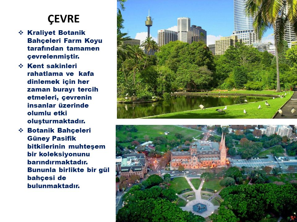 ÇEVRE Kraliyet Botanik Bahçeleri Farm Koyu tarafından tamamen çevrelenmiştir.