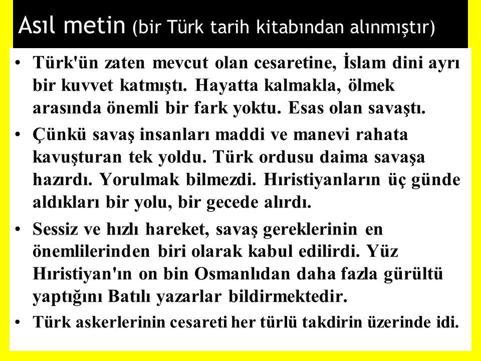 Asıl metin (bir Türk tarih kitabından alınmıştır)