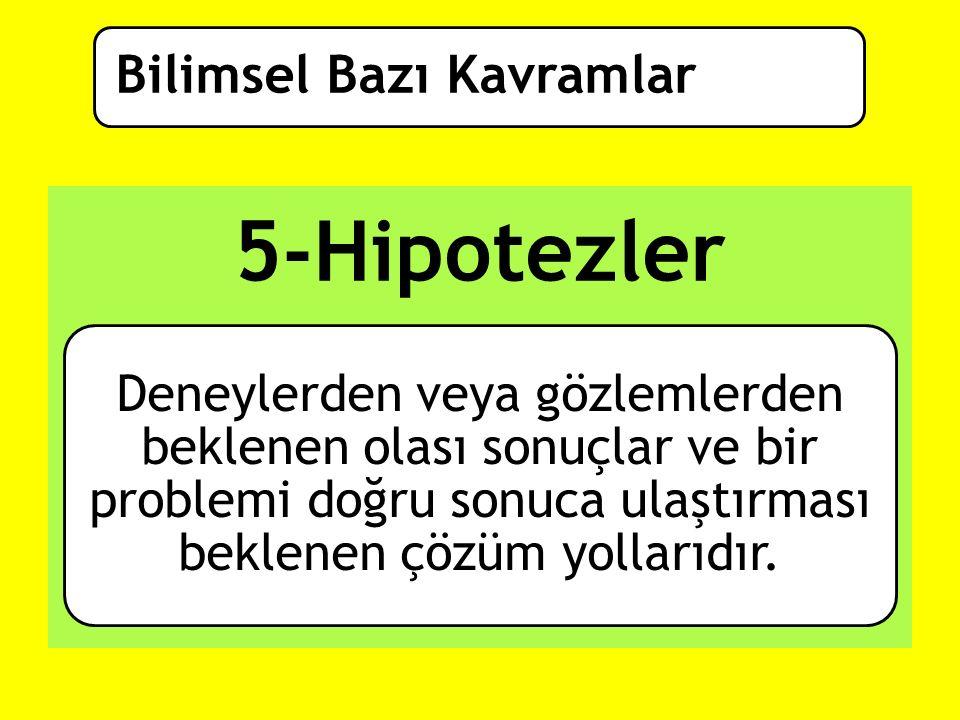 5-Hipotezler Bilimsel Bazı Kavramlar