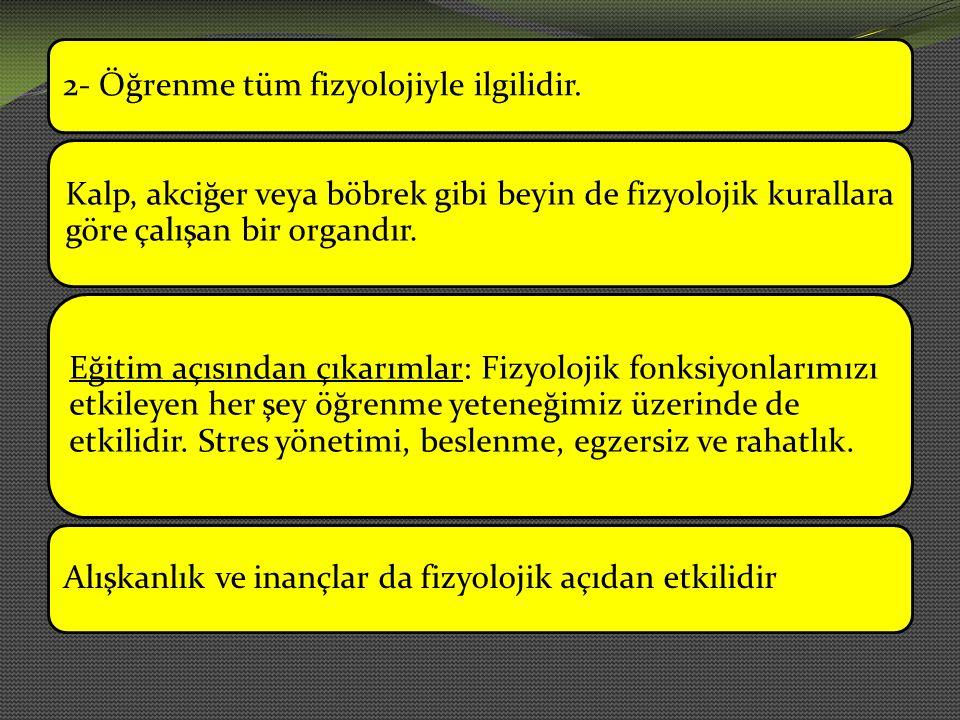 2- Öğrenme tüm fizyolojiyle ilgilidir.