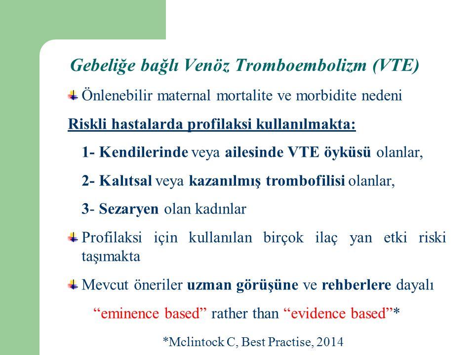 Gebeliğe bağlı Venöz Tromboembolizm (VTE)