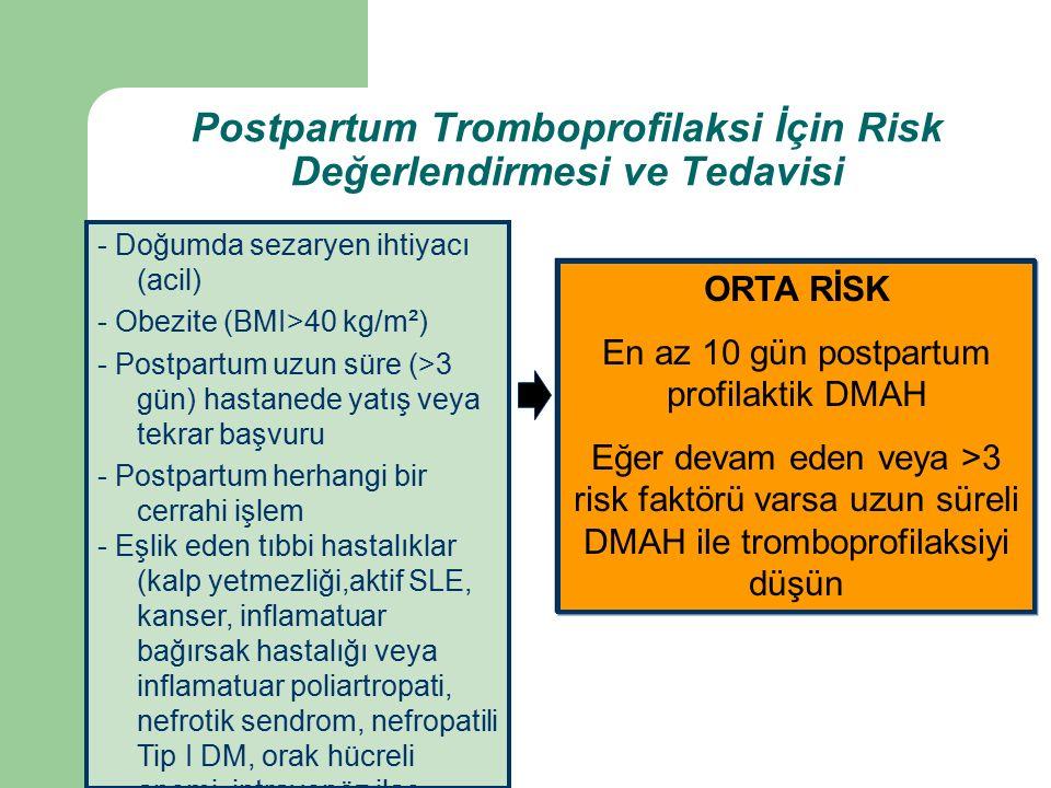 Postpartum Tromboprofilaksi İçin Risk Değerlendirmesi ve Tedavisi