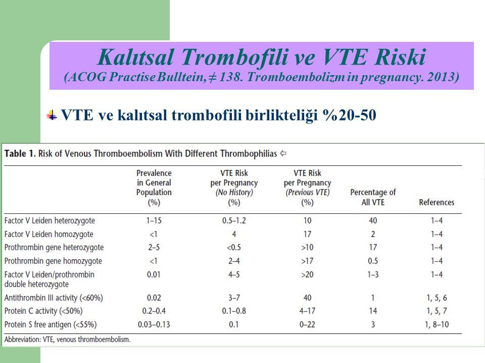 Kalıtsal Trombofili ve VTE Riski (ACOG Practise Bulltein, ≠ 138