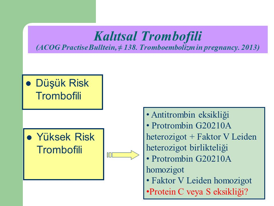 Kalıtsal Trombofili (ACOG Practise Bulltein, ≠ 138