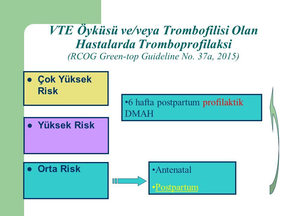 VTE Öyküsü ve/veya Trombofilisi Olan Hastalarda Tromboprofilaksi (RCOG Green-top Guideline No. 37a, 2015)