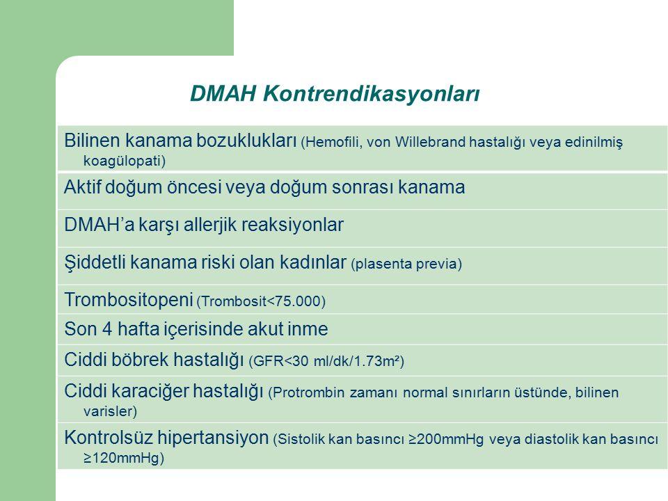 DMAH Kontrendikasyonları