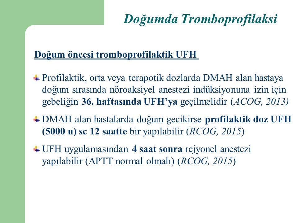 Doğumda Tromboprofilaksi Doğum öncesi tromboprofilaktik UFH