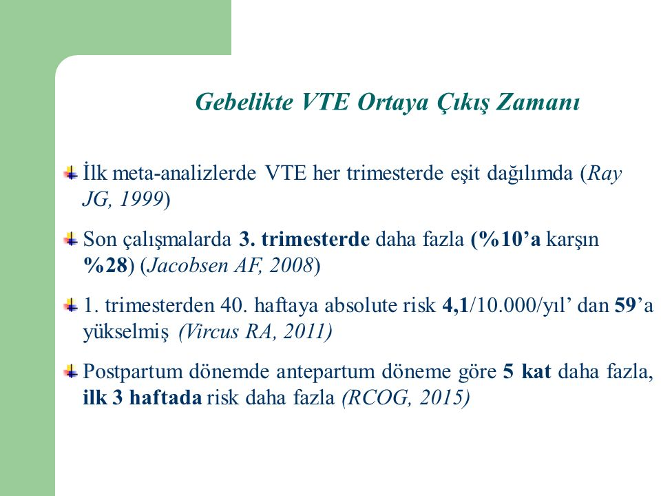 Gebelikte VTE Ortaya Çıkış Zamanı