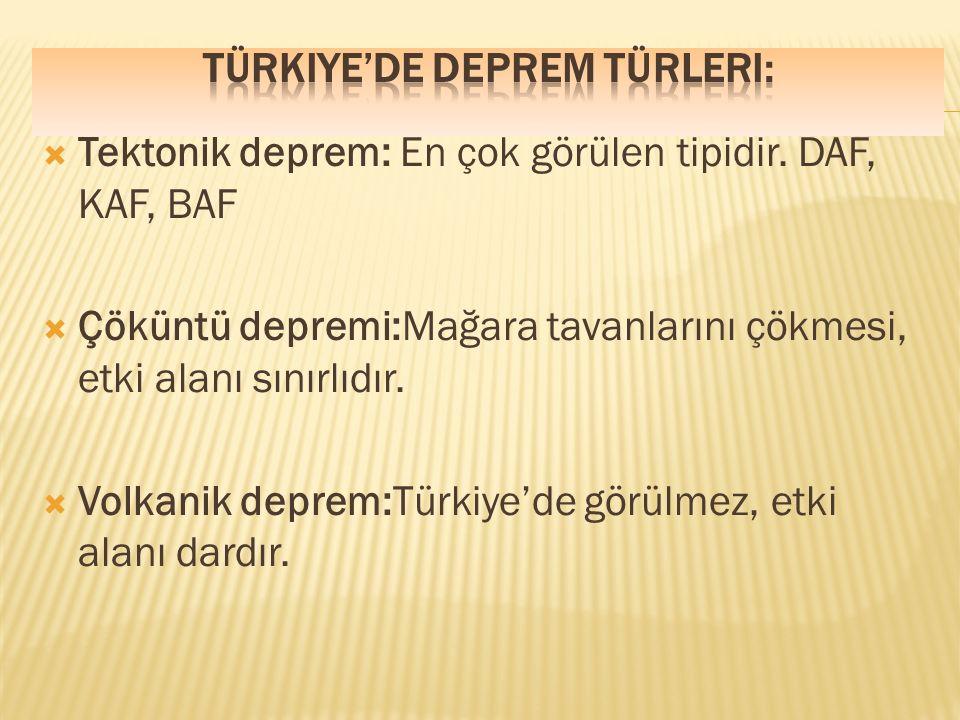 Türkiye'de Deprem Türleri: