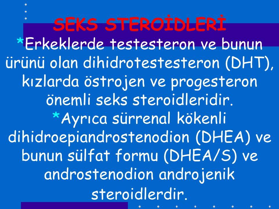 SEKS STEROİDLERİ *Erkeklerde testesteron ve bunun ürünü olan dihidrotestesteron (DHT), kızlarda östrojen ve progesteron önemli seks steroidleridir.