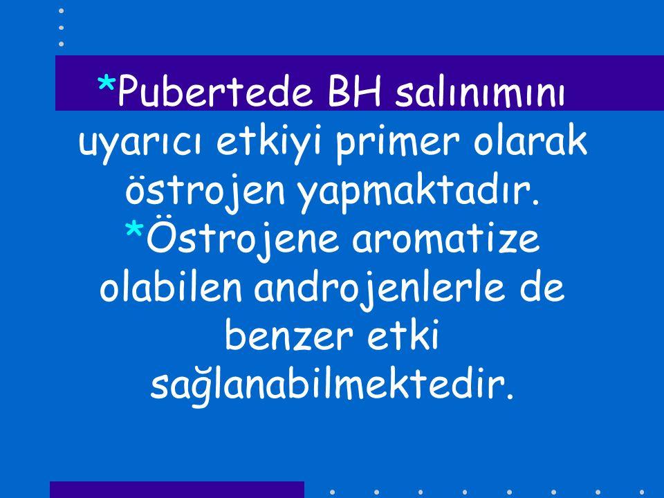 *Pubertede BH salınımını uyarıcı etkiyi primer olarak östrojen yapmaktadır.