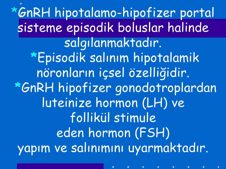 *GnRH hipotalamo-hipofizer portal sisteme episodik boluslar halinde salgılanmaktadır.