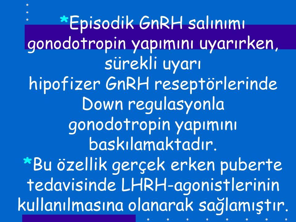 *Episodik GnRH salınımı gonodotropin yapımını uyarırken, sürekli uyarı hipofizer GnRH reseptörlerinde Down regulasyonla gonodotropin yapımını baskılamaktadır.