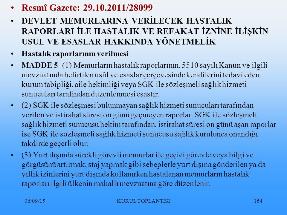 Resmî Gazete: 29.10.2011/28099