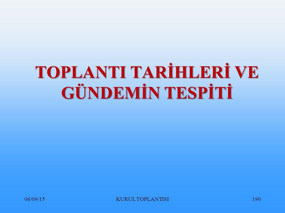 TOPLANTI TARİHLERİ VE GÜNDEMİN TESPİTİ
