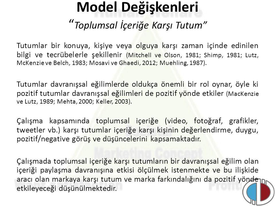 Model Değişkenleri Toplumsal İçeriğe Karşı Tutum