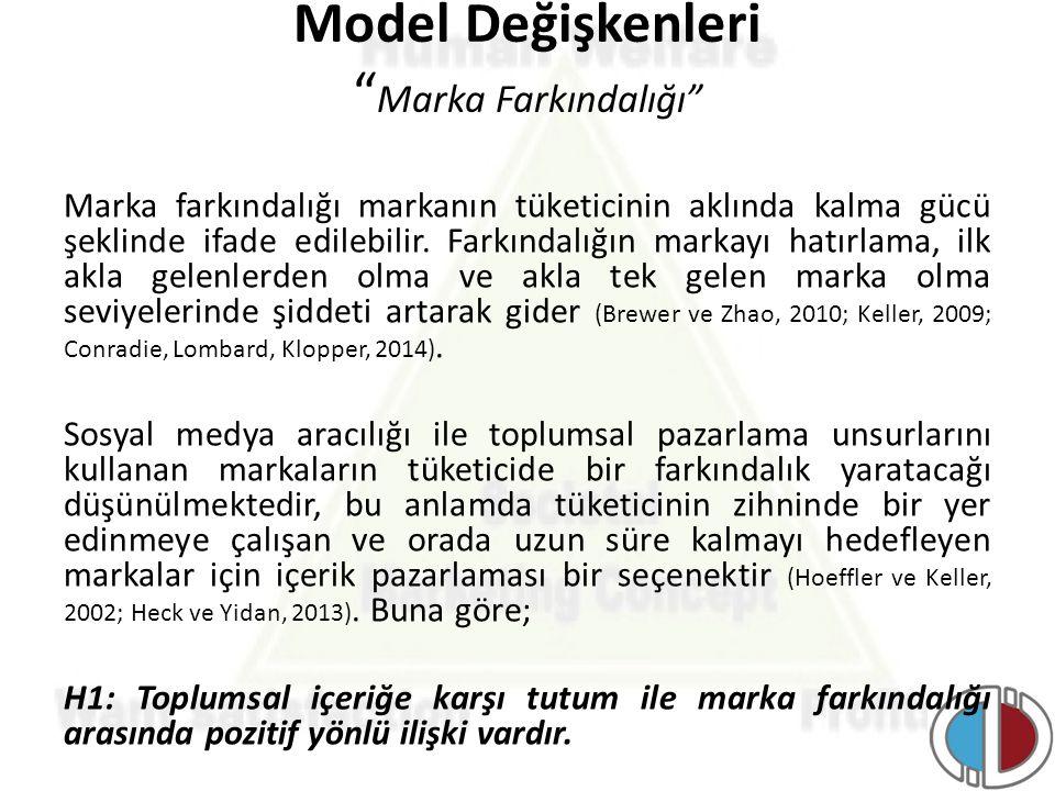 Model Değişkenleri Marka Farkındalığı