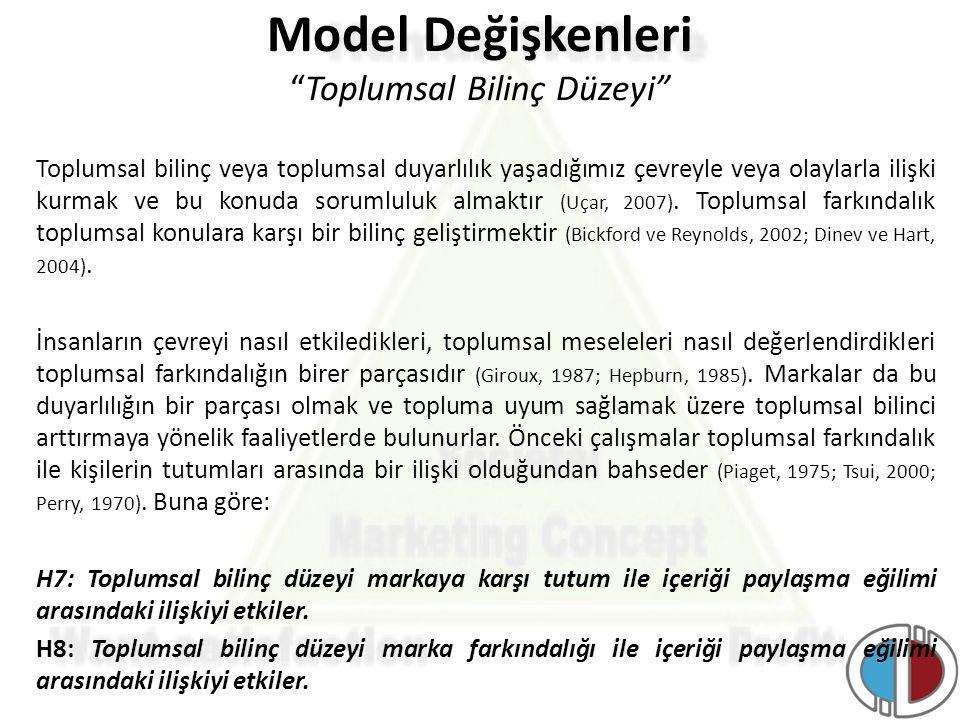 Model Değişkenleri Toplumsal Bilinç Düzeyi