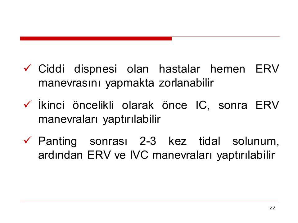 İkinci öncelikli olarak önce IC, sonra ERV manevraları yaptırılabilir