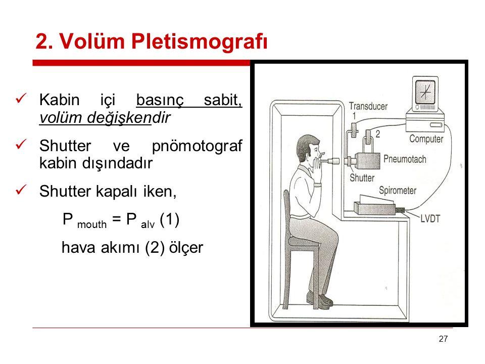 2. Volüm Pletismografı Kabin içi basınç sabit, volüm değişkendir
