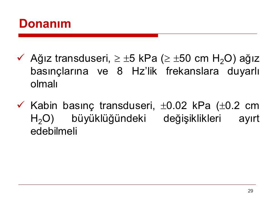 Donanım Ağız transduseri,  5 kPa ( 50 cm H2O) ağız basınçlarına ve 8 Hz'lik frekanslara duyarlı olmalı.