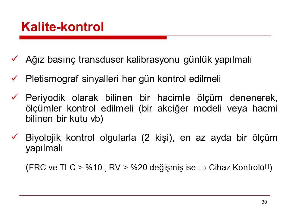 Kalite-kontrol Ağız basınç transduser kalibrasyonu günlük yapılmalı