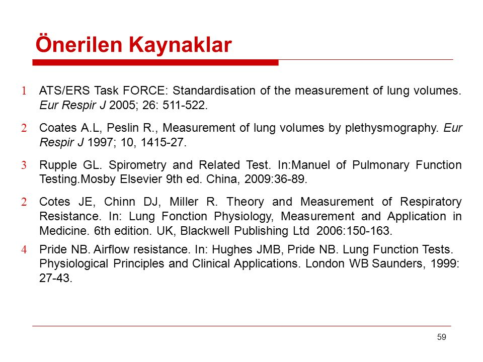 Önerilen Kaynaklar ATS/ERS Task FORCE: Standardisation of the measurement of lung volumes. Eur Respir J 2005; 26: 511-522.