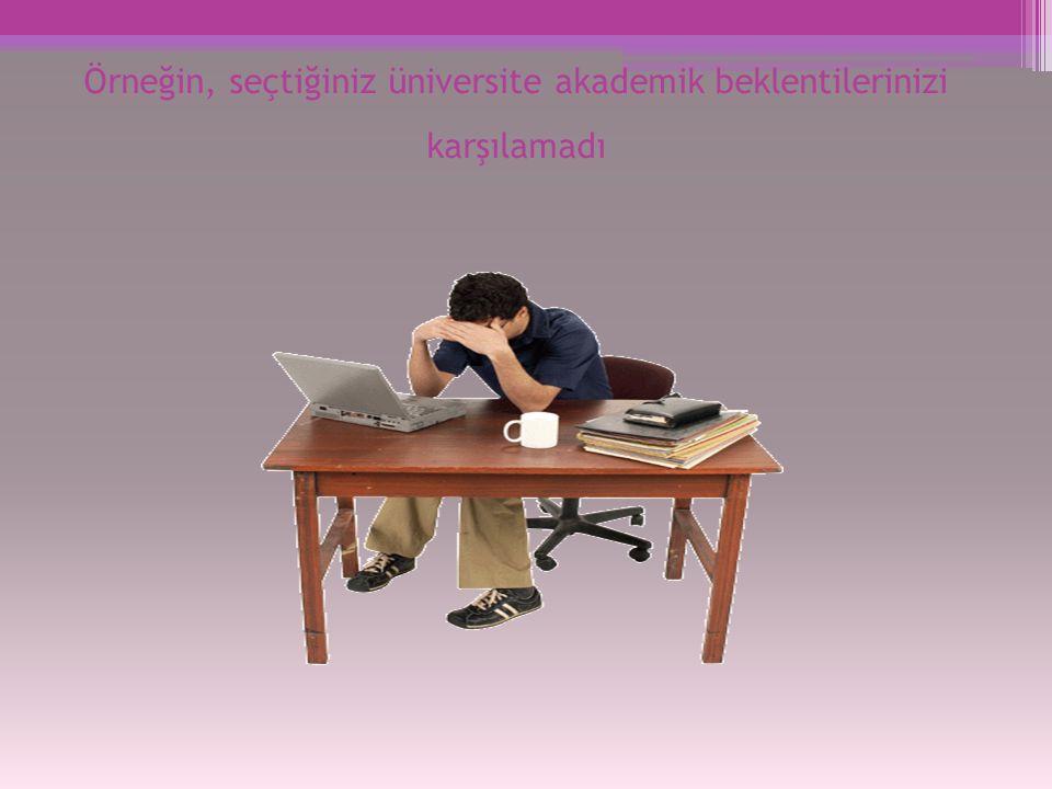 Örneğin, seçtiğiniz üniversite akademik beklentilerinizi karşılamadı