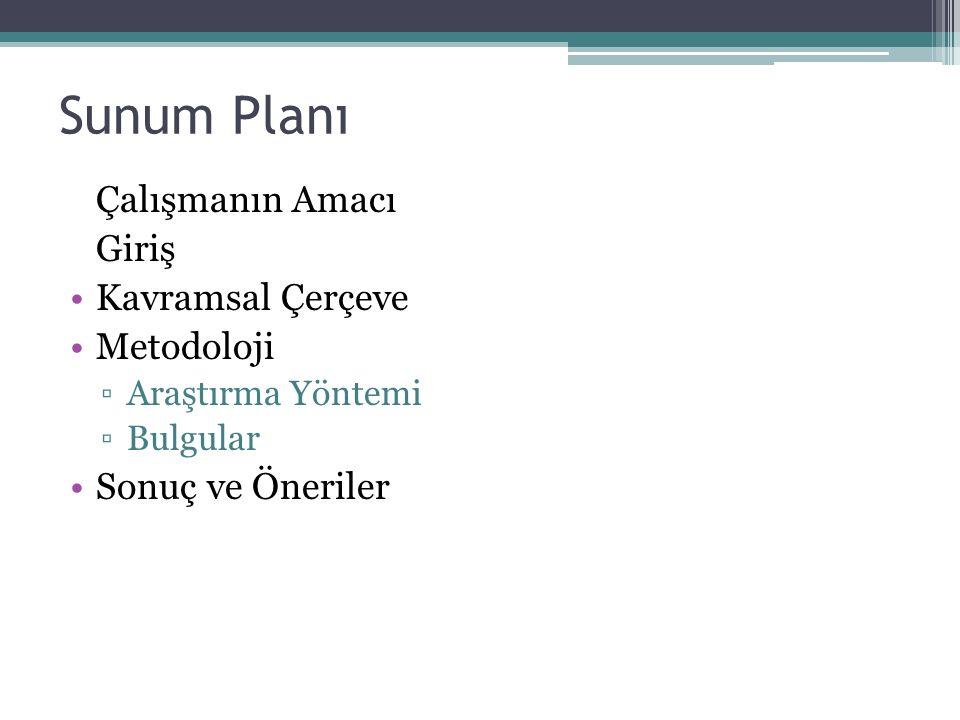 Sunum Planı Çalışmanın Amacı Giriş Kavramsal Çerçeve Metodoloji