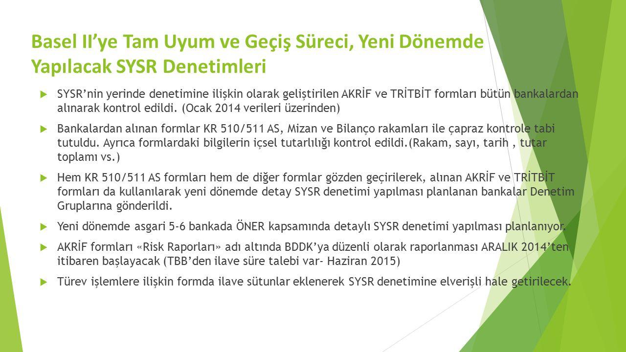 Basel II'ye Tam Uyum ve Geçiş Süreci, Yeni Dönemde Yapılacak SYSR Denetimleri