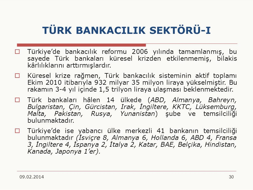 TÜRK BANKACILIK SEKTÖRÜ-I