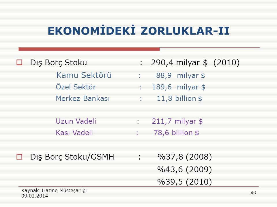 EKONOMİDEKİ ZORLUKLAR-II