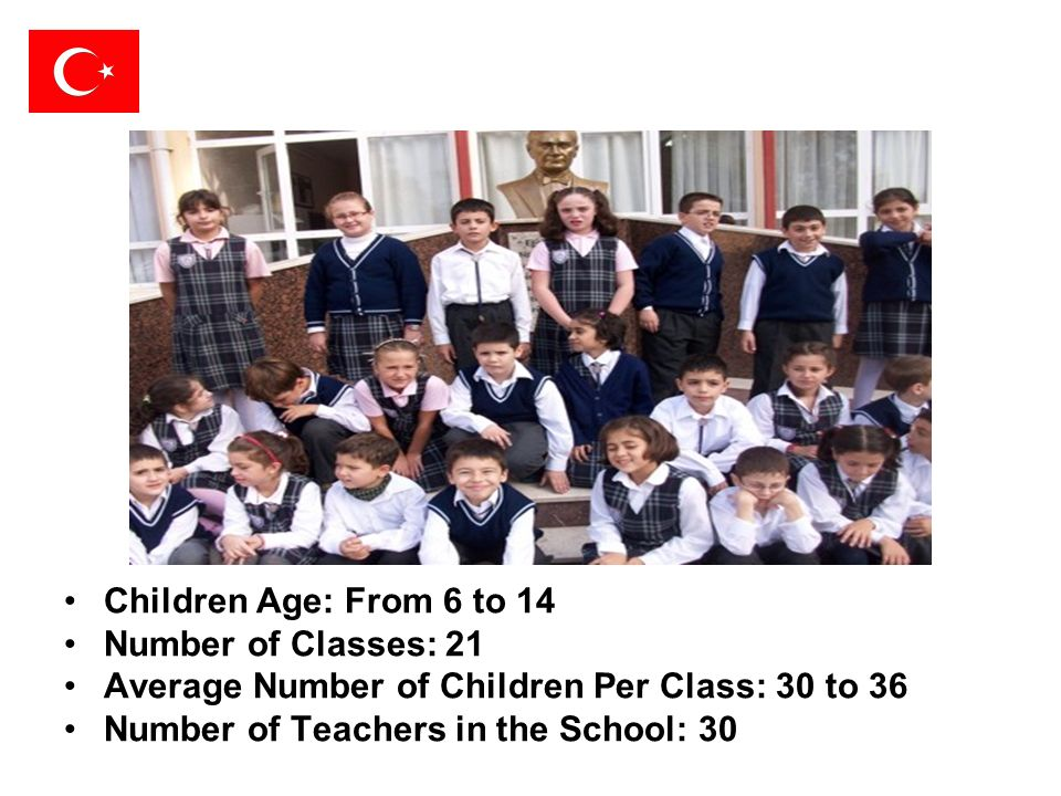 Children Age: From 6 to 14 Number of Classes: 21. Average Number of Children Per Class: 30 to 36.