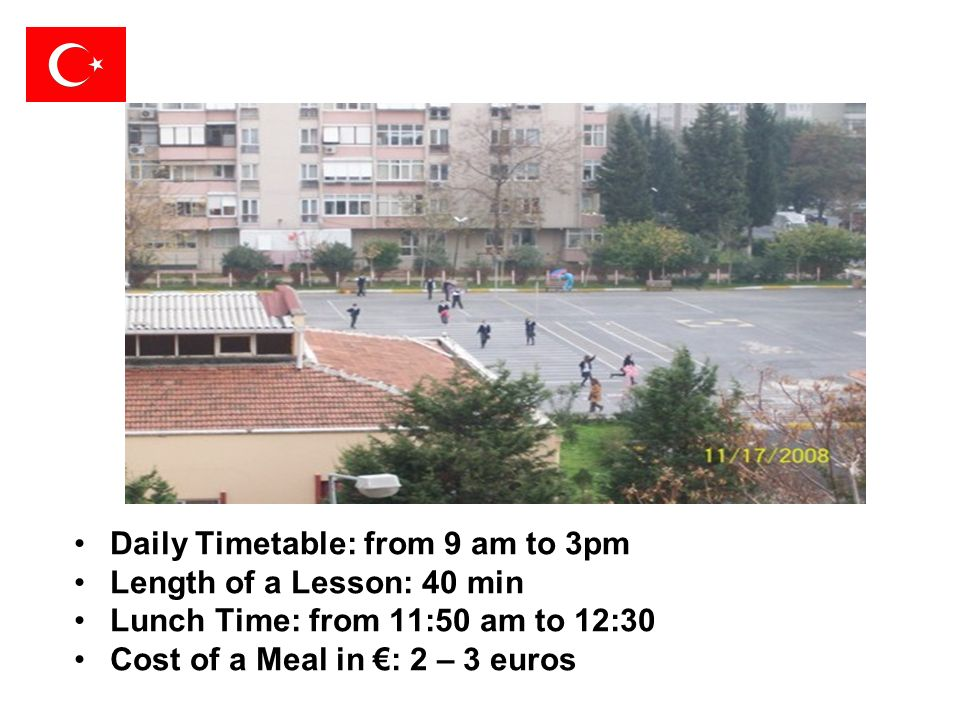 Daily Timetable: from 9 am to 3pm