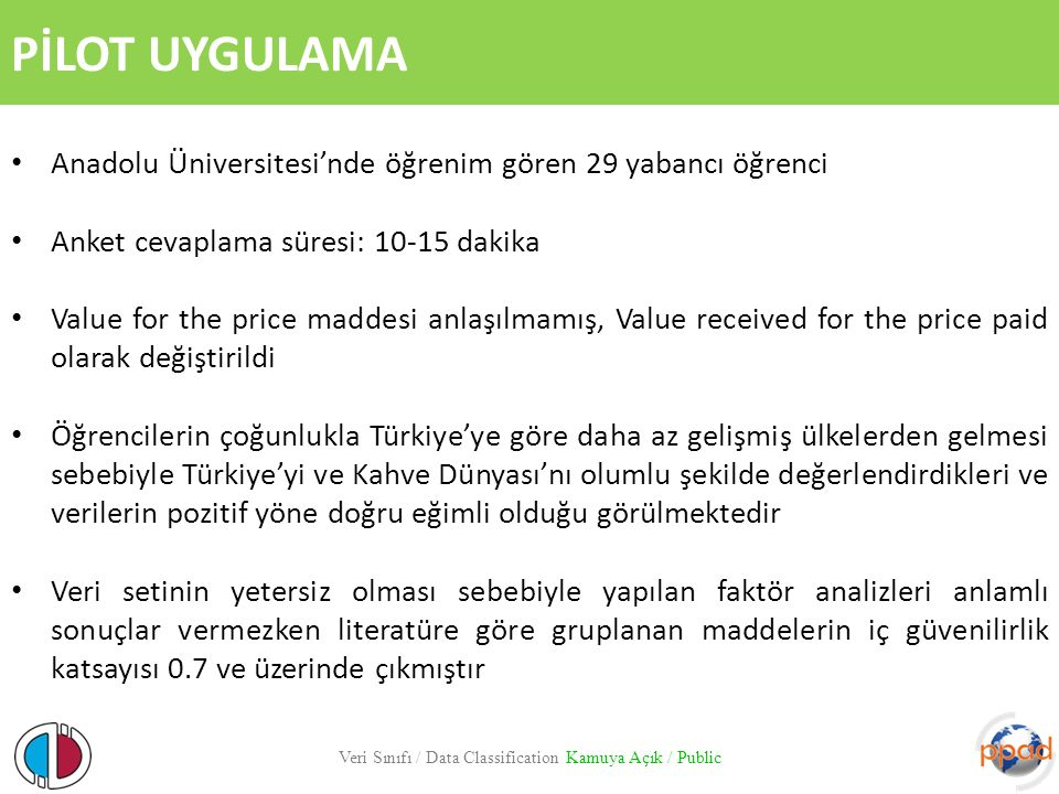 PİLOT UYGULAMA. Anadolu Üniversitesi'nde öğrenim gören 29 yabancı öğrenci. Anket cevaplama süresi: 10-15 dakika.