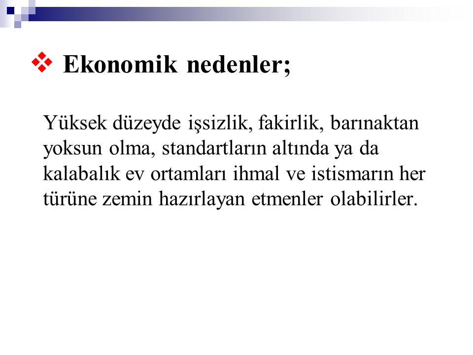 Ekonomik nedenler;