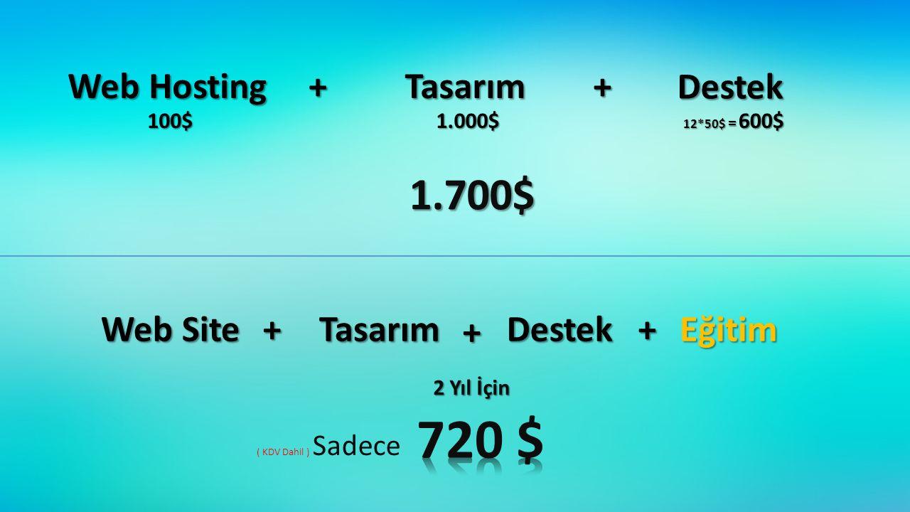 720 $ 1.700$ Web Hosting + Tasarım + Destek Web Site + Tasarım +