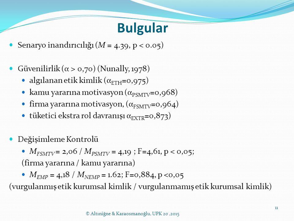 Bulgular Senaryo inandırıcılığı (M = 4.39, p < 0.05)