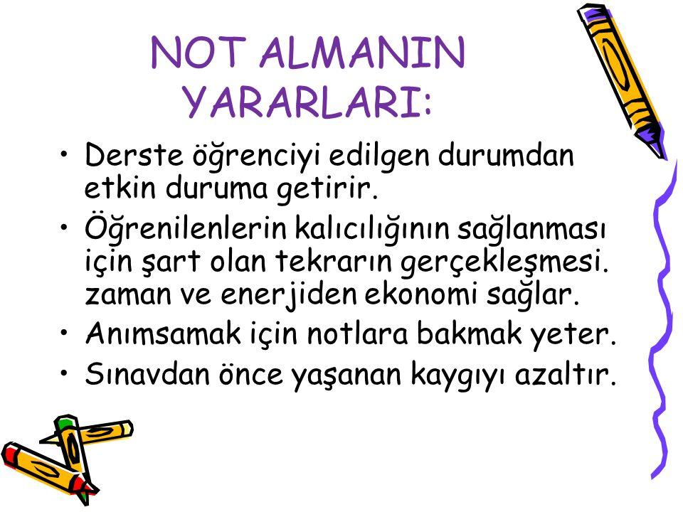 NOT ALMANIN YARARLARI: