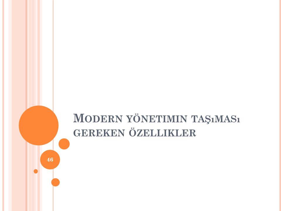 Modern yönetimin taşıması gereken özellikler