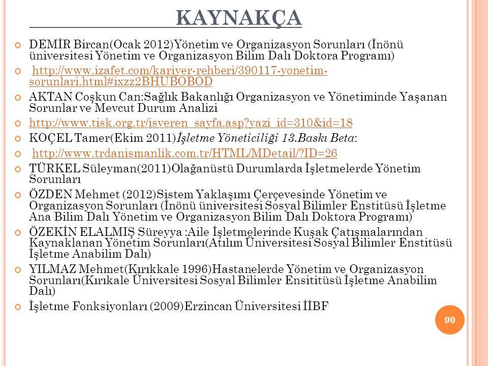 KAYNAKÇA DEMİR Bircan(Ocak 2012)Yönetim ve Organizasyon Sorunları (İnönü üniversitesi Yönetim ve Organizasyon Bilim Dalı Doktora Programı)