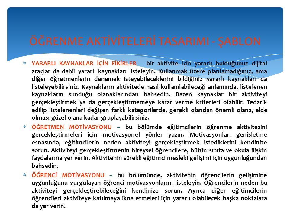 ÖĞRENME AKTİVİTELERİ TASARIMI - ŞABLON