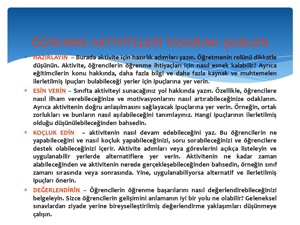 ÖĞRENME AKTİVİTELERİ TASARIMI -ŞABLON