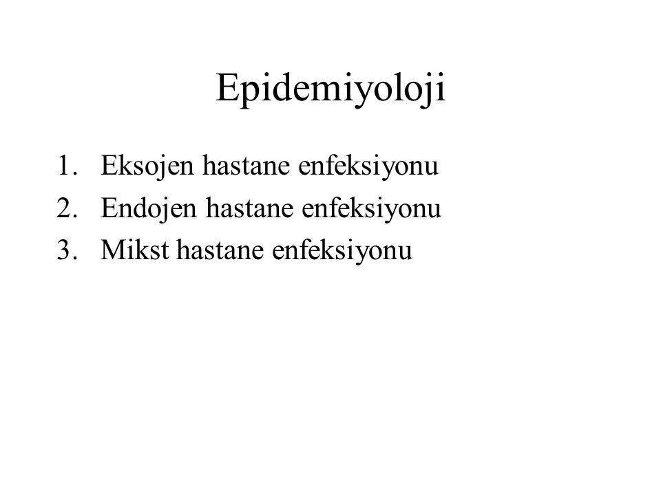 Epidemiyoloji Eksojen hastane enfeksiyonu Endojen hastane enfeksiyonu