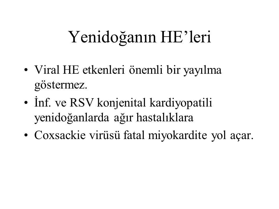 Yenidoğanın HE'leri Viral HE etkenleri önemli bir yayılma göstermez.