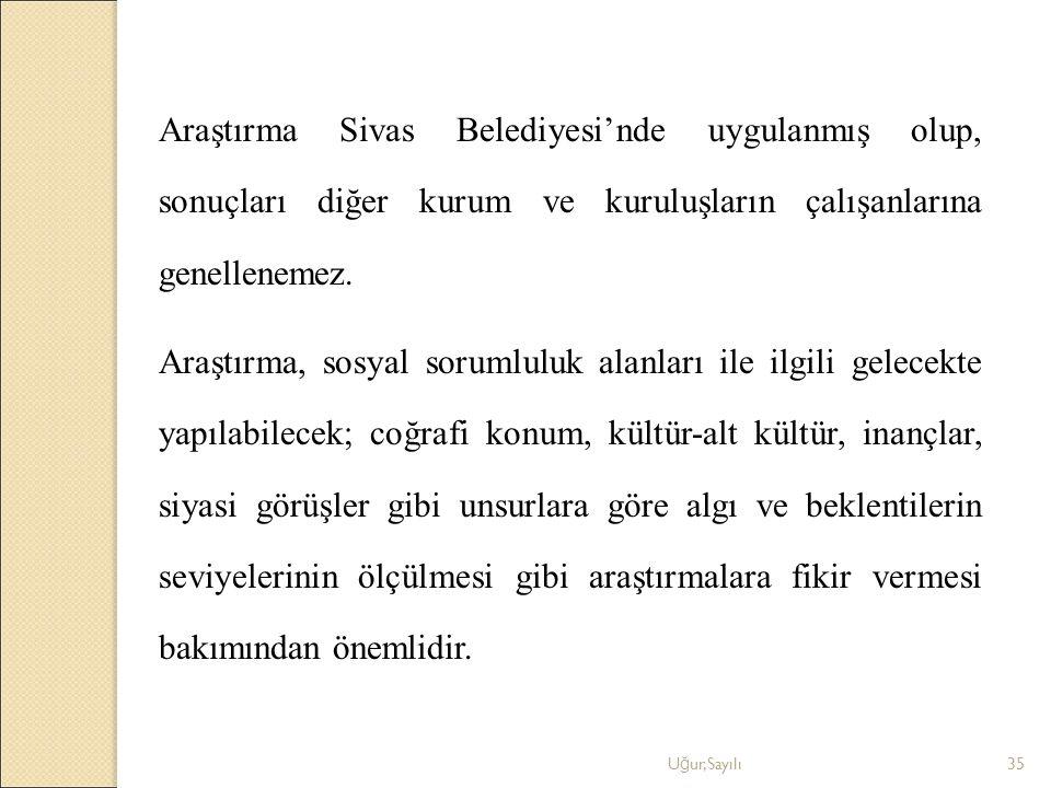 Araştırma Sivas Belediyesi'nde uygulanmış olup, sonuçları diğer kurum ve kuruluşların çalışanlarına genellenemez.