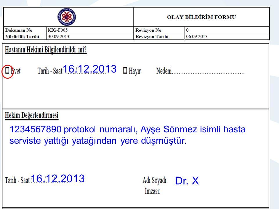 16.12.2013 1234567890 protokol numaralı, Ayşe Sönmez isimli hasta serviste yattığı yatağından yere düşmüştür.