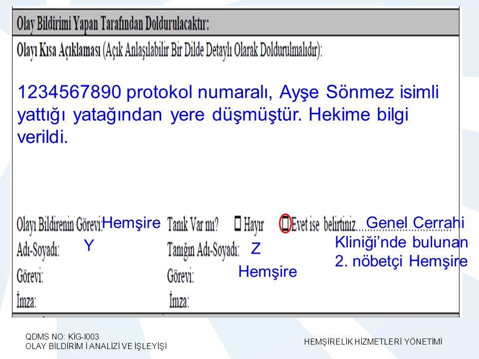 1234567890 protokol numaralı, Ayşe Sönmez isimli yattığı yatağından yere düşmüştür. Hekime bilgi verildi.
