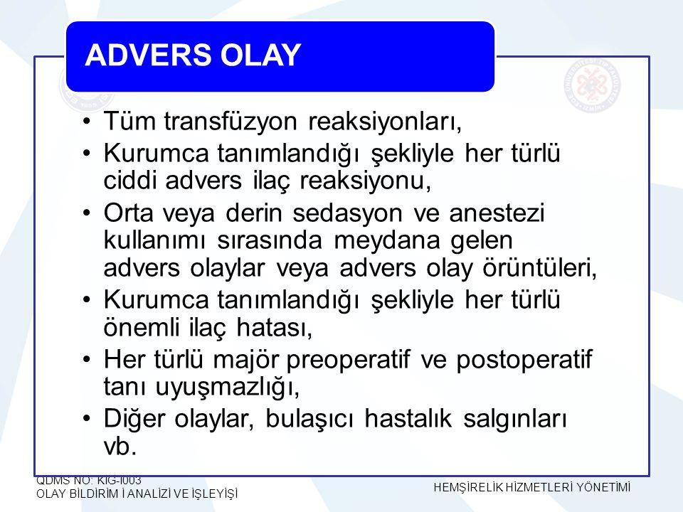 ADVERS OLAY Tüm transfüzyon reaksiyonları,